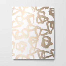 White Gold Geometric Triangle Pattern Metal Print