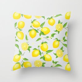 You're the Zest - Lemons on White Throw Pillow