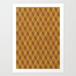 Golden Cube Art Print