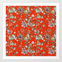Tangerine Dream Floral Art Print