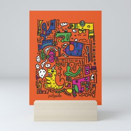 Orange Doodle Monster World by Pablo Rodriguez (Pabzoide) Mini Art Print
