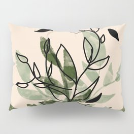 Green and black leaves Pillow Sham
