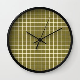 Spanish bistre - green color - White Lines Grid Pattern Wall Clock