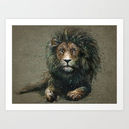 Lion background Art Print