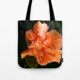 Apricot Hibiscus Tote Bag