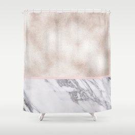 Pearl rose gold with marble Shower Curtain