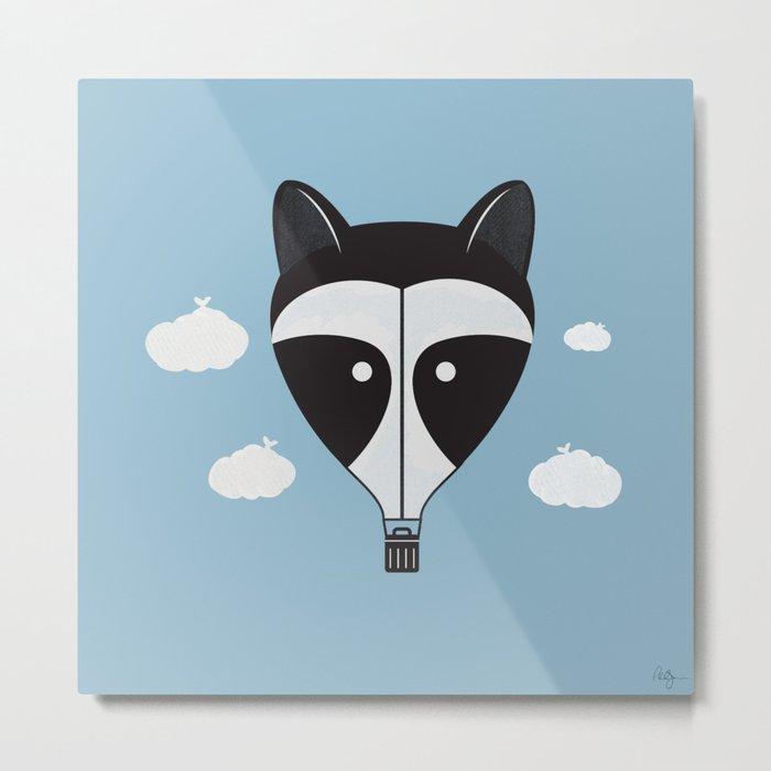 Hot Air Raccoon Metal Print