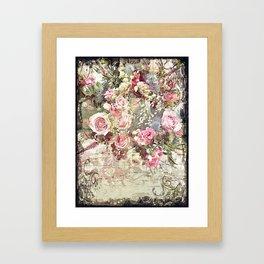 Shabby Chic Rococo Roses Framed Art Print