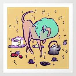 Long Dog Tea Party Art Print