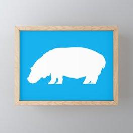 Blue White Hippo Framed Mini Art Print