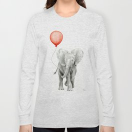Baby Elephant Watercolor Red Balloon Nursery Decor Long Sleeve T-shirt