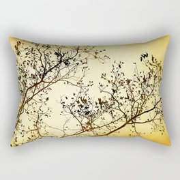 Black and Gold Tree Abstract Rectangular Pillow