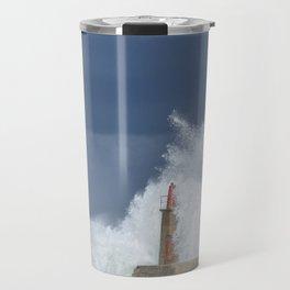 Stormy wave over old lighthouse Travel Mug