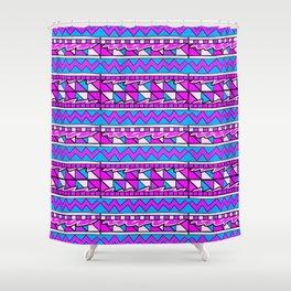 Latin American Pattern Pink Purple Blue. Funky Art. Colourful Pattern Shower Curtain