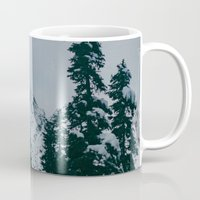 snowboard Mugs featuring Cascade Winter Mountain by Leah Flores