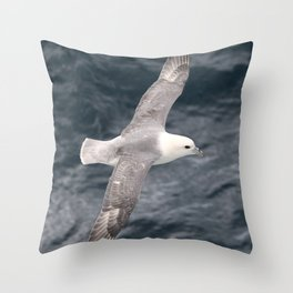 Seagull flying over Arctic Ocean Throw Pillow