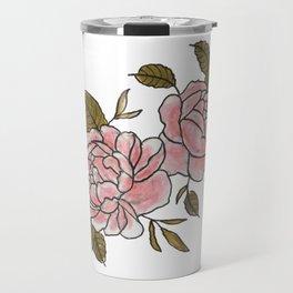 Pink Roses Watercolor Travel Mug