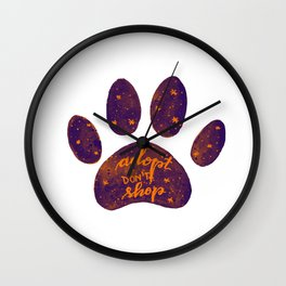 Adopt don't shop galaxy paw - purple and orange Wall Clock