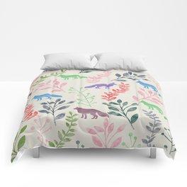 Watercolor Floral & Fox III Comforters