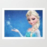 frozen elsa Art Prints featuring Elsa - Frozen by lauramaahs