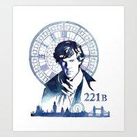 sherlock Art Prints featuring Sherlock by Jackie Sullivan