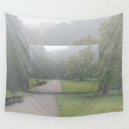 Gloomy autumn fog in park Wall Tapestry