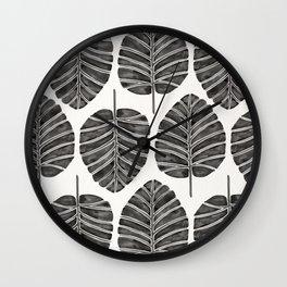 Elephant Ear Alocasia – Black Palette Wall Clock
