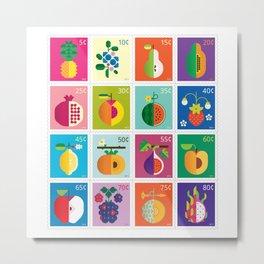 Fruit Stamps 16 Metal Print