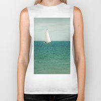 sail Biker Tanks featuring Minty Sail by Pure Nature Photos