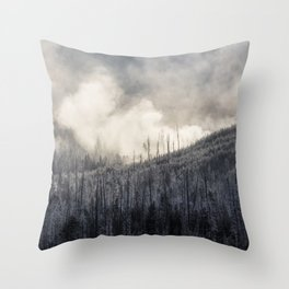Steamy Forest -  Yellowstone National Park Throw Pillow