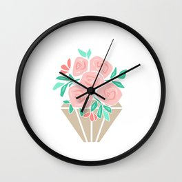 Roses in a vase rose Wall Clock