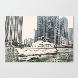 Boat Miami Beach Florida ArtWork Panting Canvas Print