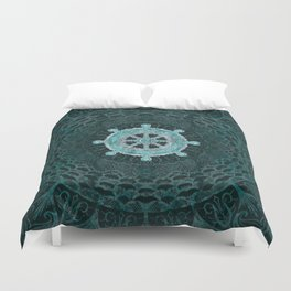 Dharma Wheel - Dharmachakra Silver and turquoise Duvet Cover