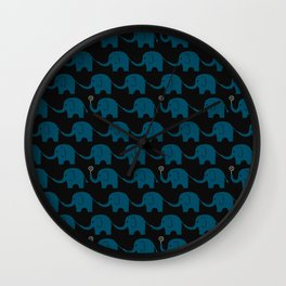Navy Elephant Parade Wall Clock