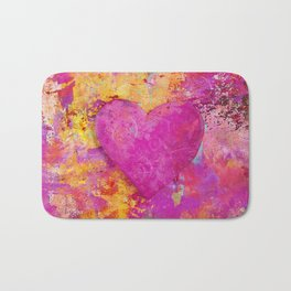 original heart painting Crazy in Love Bath Mat