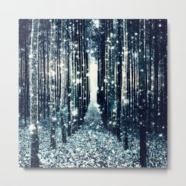 Magical Forest Teal Gray Elegance Metal Print