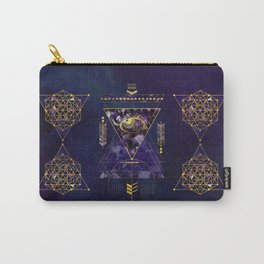 Sacred Geometry All Seeing eye in gold and amethyst Carry-All Pouch