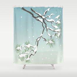 Snowy Japanese Pine Shower Curtain