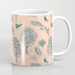 A Girl Reading in the Garden (Blush and Teal) Coffee Mug