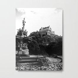 Edinburgh Castle B&W Metal Print