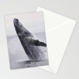 Monochrome humpback whale dance in the ocean floor. Beautiful wild animals photo Stationery Cards