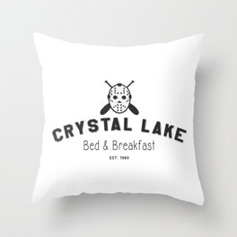 Crystal Lake Bed and Breakfast, Former Camp Crystal, Est.1980, Design for Wall Art, Posters, Tshirts, Men, Women, Kids Throw Pillow