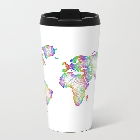 Rainbow World map Metal Travel Mug