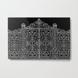 French Wrought Iron Gate   Louis XV Style   Ornate Ironwork   Black and Silvery Grey   Metal Print