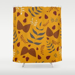 Autumn leaves and acorns - ochre and brown Shower Curtain
