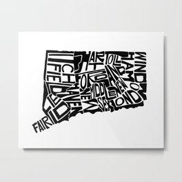 Typographic Connecticut Metal Print