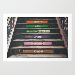 "riding the ""L"" train in Chicago ... Art Print"