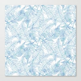 Fern Silhouette Blue Canvas Print