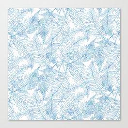 Fern Silhouette Blue Canvas Print