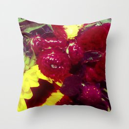Sunflower and Cockscomb Throw Pillow